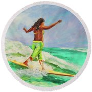 Round Beach Towel featuring the painting Surfer Girl by Patricia Piffath