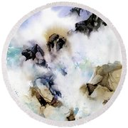 Round Beach Towel featuring the painting Surf's Up by Rae Andrews
