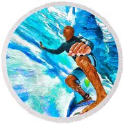 Surf's Up With Kelly Slater Round Beach Towel by ABeautifulSky Photography