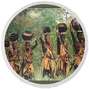 Blue Cat Productions        Surma Women Of Africa Round Beach Towel