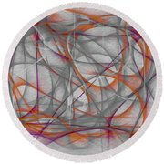 Round Beach Towel featuring the mixed media Surprise-abstract Expression by Marian Palucci-Lonzetta