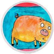 Surprised Pig Round Beach Towel