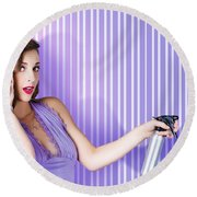Surprised Pinup Woman With Beauty Salon Hair Style Round Beach Towel