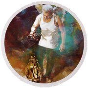 Round Beach Towel featuring the painting Surreal Art  by Gull G