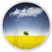 Surreal Canola Field Round Beach Towel