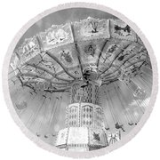 Round Beach Towel featuring the photograph Surreal Carnival Rides - Carnival Rides Ferris Wheel Black And White Photography Prints Home Decor by Kathy Fornal