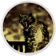 Surreal Cat Yawn Round Beach Towel by Gina O'Brien