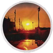 Surreal Cityscape Sunset Round Beach Towel