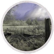 Round Beach Towel featuring the photograph Surreal Cloud And Pasture by Chriss Pagani