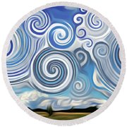 Surreal Cloud Blue Round Beach Towel