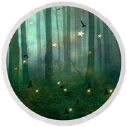Surreal Dreamy Fantasy Nature Fairy Lights Woodlands Nature - Fairytale Fantasy Forest Woodlands  Round Beach Towel