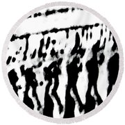 Surreal From Tire Tracks In Sand Round Beach Towel