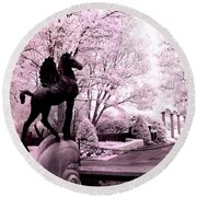 Surreal Infared Pink Black Sculpture Horse Pegasus Winged Horse Architectural Garden Round Beach Towel