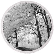 Round Beach Towel featuring the photograph Surreal Infrared Black White Nature Trees - Haunting Black White Trees Nature Infrared by Kathy Fornal