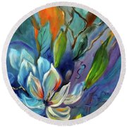 Surreal Magnolias Round Beach Towel