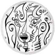 Surrealism Scream Black And White Round Beach Towel