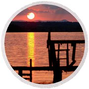 Surreal Smith Mountain Lake Dockside Sunset 2 Round Beach Towel