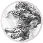 Surreal Space. Dry Leaves Series Round Beach Towel
