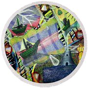 Surrealism Of The Souls Round Beach Towel