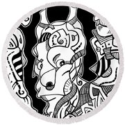 Surrealism Pagan Black And White Round Beach Towel