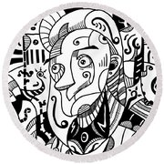 Surrealism Philosopher Black And White Round Beach Towel