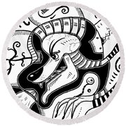 Surrealism Wolf Black And White Round Beach Towel