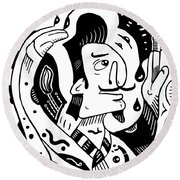 Surrealist Painter Round Beach Towel