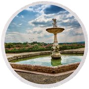 The Monkeys Fountain At The Gardens Of The Knight In Florence, Italy Round Beach Towel