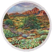 Surrounded By Sedona Round Beach Towel