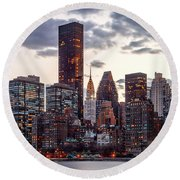 Surrounded By The City Round Beach Towel