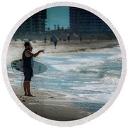 Surveying The Waves Round Beach Towel