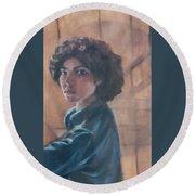 Susan Berger - Suzn Smith - Self Portrait Round Beach Towel
