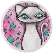 Susan  Cat Round Beach Towel by Abril Andrade Griffith