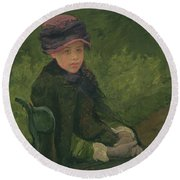 Susan Seated Outdoors Wearing A Purple Hat Round Beach Towel