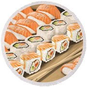 Round Beach Towel featuring the painting Sushi by Veronica Minozzi