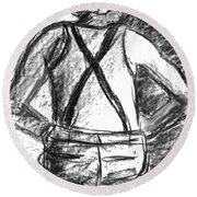 Round Beach Towel featuring the painting Suspenders by Cathie Richardson