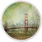 Round Beach Towel featuring the photograph Suspension - Golden Gate Bridge San Francisco Photography Mixed Media Collage by Melanie Alexandra Price