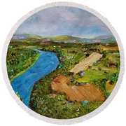 Round Beach Towel featuring the painting Susquehanna Valley by Judith Rhue