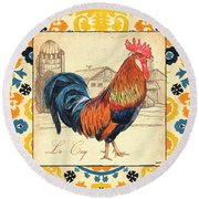 Suzani Rooster 2 Round Beach Towel