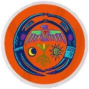 Round Beach Towel featuring the digital art Sw Shaman Eagle Rain Dance by Vagabond Folk Art - Virginia Vivier