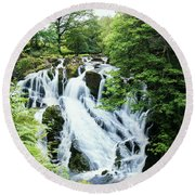Swallow Falls Round Beach Towel by Roger Lighterness