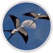 Swallow Tail Kites In Flight Under Moon Round Beach Towel