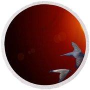 Swallows In Flight Round Beach Towel