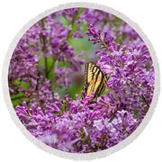 Swallowtail Butterfly And Lilacs Round Beach Towel