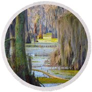 Swamp Curtains In February Round Beach Towel