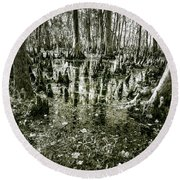 Swamp In Contrast Round Beach Towel