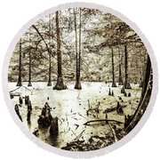 Swamp In Sepia Round Beach Towel