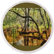 Swamp Life II Round Beach Towel