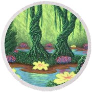 Swamp Things 02, Diptych Panel A Round Beach Towel