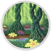 Swamp Things 02, Diptych Panel B Round Beach Towel